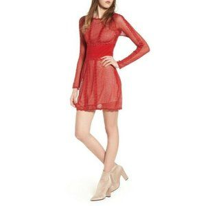 NWT Free People Women Cherry Red Mixed Media Mesh